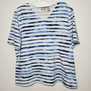 Chico's size 3 Striped V-neck Short sleeve tshirt